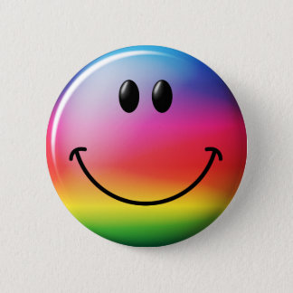 Rainbow Smiley Face 2 Inch Round Button