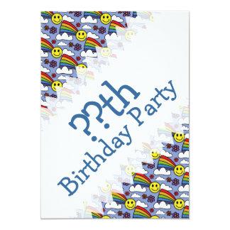 "Rainbow Smiley Face and Flowers Hippie Birthday 5"" X 7"" Invitation Card"