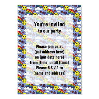"Rainbow Smiley Face and Flowers Hippie Pattern 5"" X 7"" Invitation Card"
