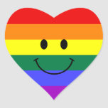 Rainbow Smiley Face Heart Stickers