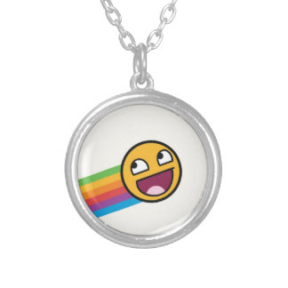 Rainbow Smiley Face Silver Plated Necklace