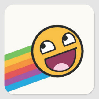 Rainbow Smiley Face Square Sticker