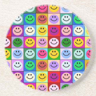 Rainbow smiley face squares beverage coaster