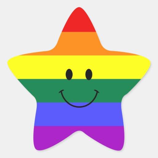 Rainbow Smiley Face Star Sticker
