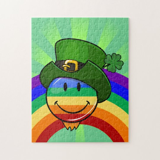 Rainbow Smiley with St. Patrick's Day Hat Jigsaw Puzzle