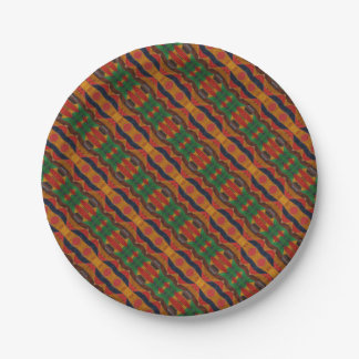 Rainbow Snake leather pattern Paper Plate