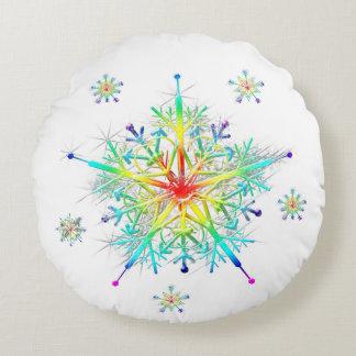Rainbow Snowflake Ice Crystal Round Pillow