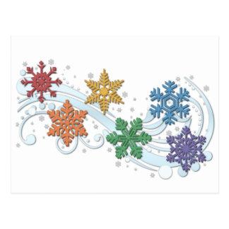 Rainbow Snowflakes Postcard