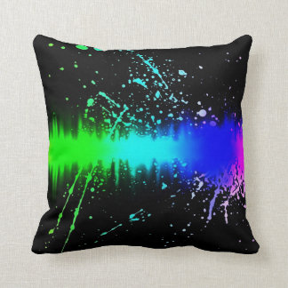 Rainbow Sound Explosion Airbrush Abstract Pillow