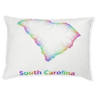 Rainbow South Carolina map Large Dog Bed