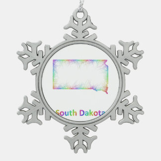 Rainbow South Dakota map Pewter Snowflake Ornament