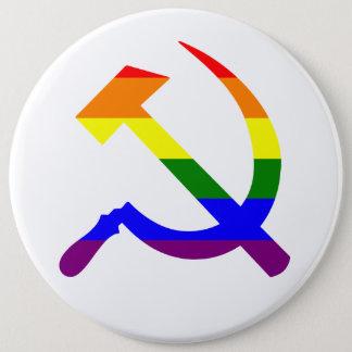 Rainbow Soviet Hammer And Sickle 6 Inch Round Button