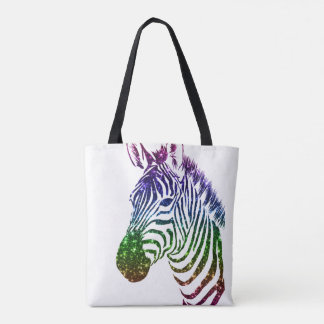 Rainbow Sparkle Zebra Art Tote Bag