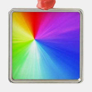 Rainbow spectrum design Silver-Colored square ornament