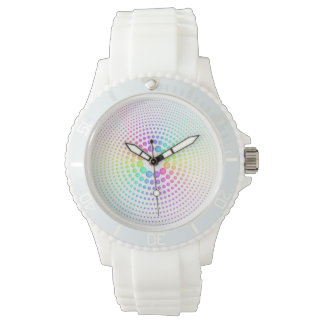 Rainbow Spheres on White Watch