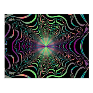 Rainbow Spider Web Fractal Postcard