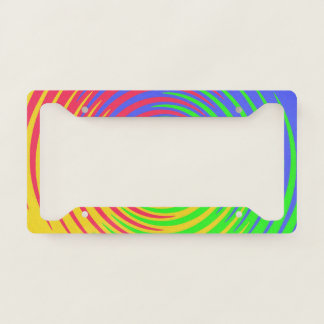 Rainbow Spiral Abstract License Plate Frame
