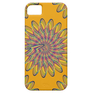 Rainbow Spiral Flower Design - Orange Background iPhone 5 Cases