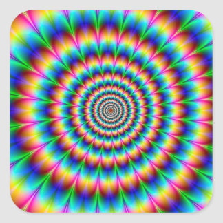 Rainbow Spiral Optical Illusion Square Sticker