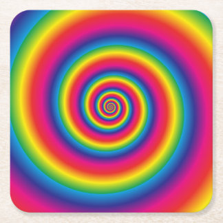 Rainbow Spiral Square Paper Coaster