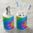 Rainbow Spiral Tie Dye Bathroom Set
