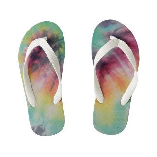 Rainbow Spiral Tie Dye fluorescent Kid's Flip Flops