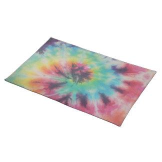 Rainbow Spiral Tie Dye fluorescent Placemat