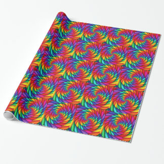 Rainbow Spiraling Tunnel Twist Tiled Wrapping Paper