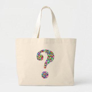 Rainbow Splatter Question Mark Large Tote Bag