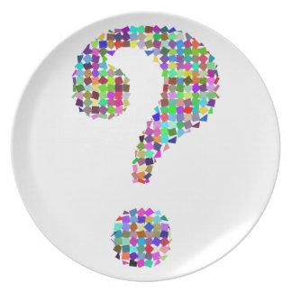 Rainbow Splatter Question Mark Plate