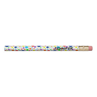 Rainbow Spots Name Pencil