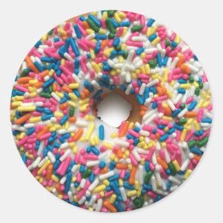 Rainbow Sprinkle Donut round stickers