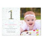 "Rainbow Sprinkles 1st Birthday Party Invite 5"" X 7"" Invitation Card"