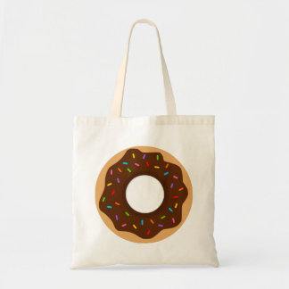 Rainbow Sprinkles Chocolate Donut Tote Bag