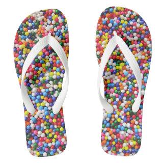Rainbow sprinkles flip flops