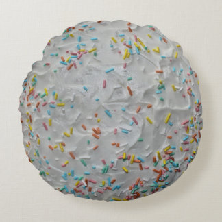 Rainbow Sprinkles on White Frosting Round Pillow