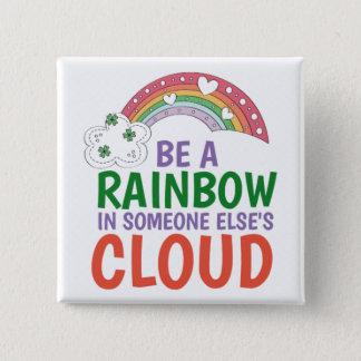 Rainbow- Square Button Pin