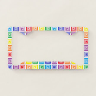 Rainbow Squared License Plate Frame
