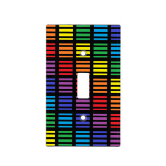 Rainbow Squares and Stripes Black Light Switch Cover