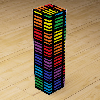 Rainbow Squares and Stripes Black Wine Gift Box