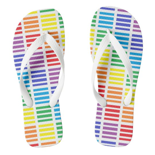 Rainbow Squares and Stripes Flip Flops