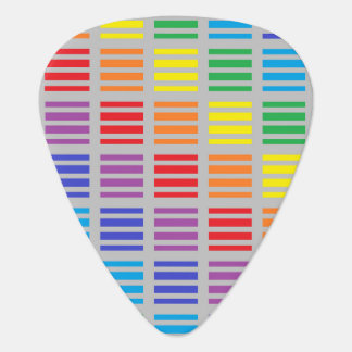Rainbow Squares and Stripes Silver Guitar Pick