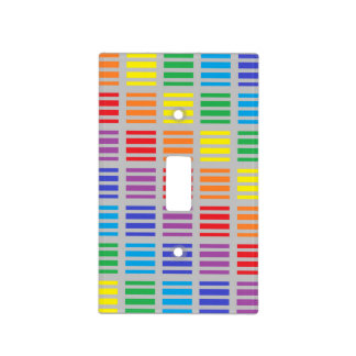 Rainbow Squares and Stripes Silver Light Switch Cover