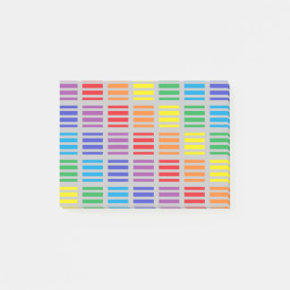 Rainbow Squares and Stripes Silver Post-it® Notes
