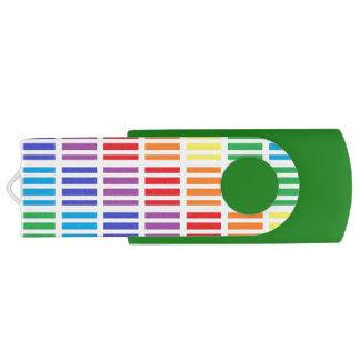 Rainbow Squares and Stripes Swivel USB 3.0 Flash Drive