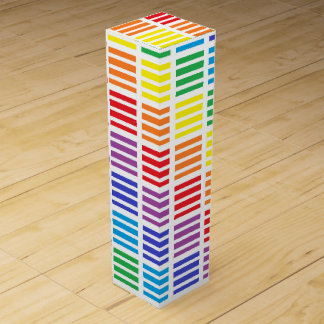 Rainbow Squares and Stripes Wine Gift Box