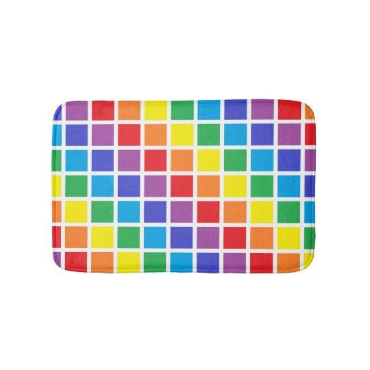 Rainbow Squares Bath Mat