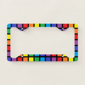 Rainbow Squares Black License Plate Frame