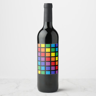 Rainbow Squares Black Wine Label