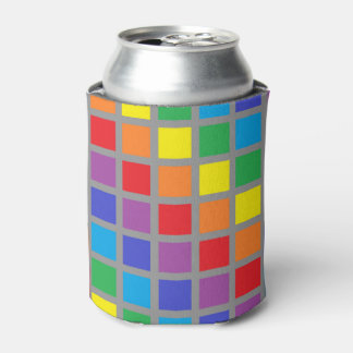 Rainbow Squares Charcoal Can Cooler